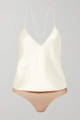 Alix NYC - Lewis Silk-charmeuse And Stretch-jersey Thong Bodysuit - Ivory