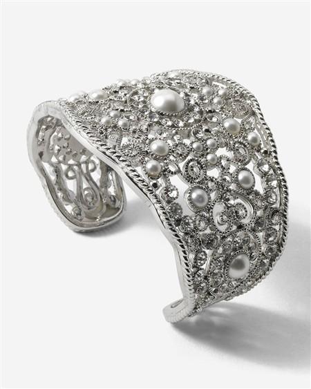 Glass-Pearl Crystal Cuff
