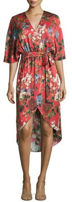 Alice + Olivia Clarine Floral-Print Silk Wrap Dress $440 thestylecure.com