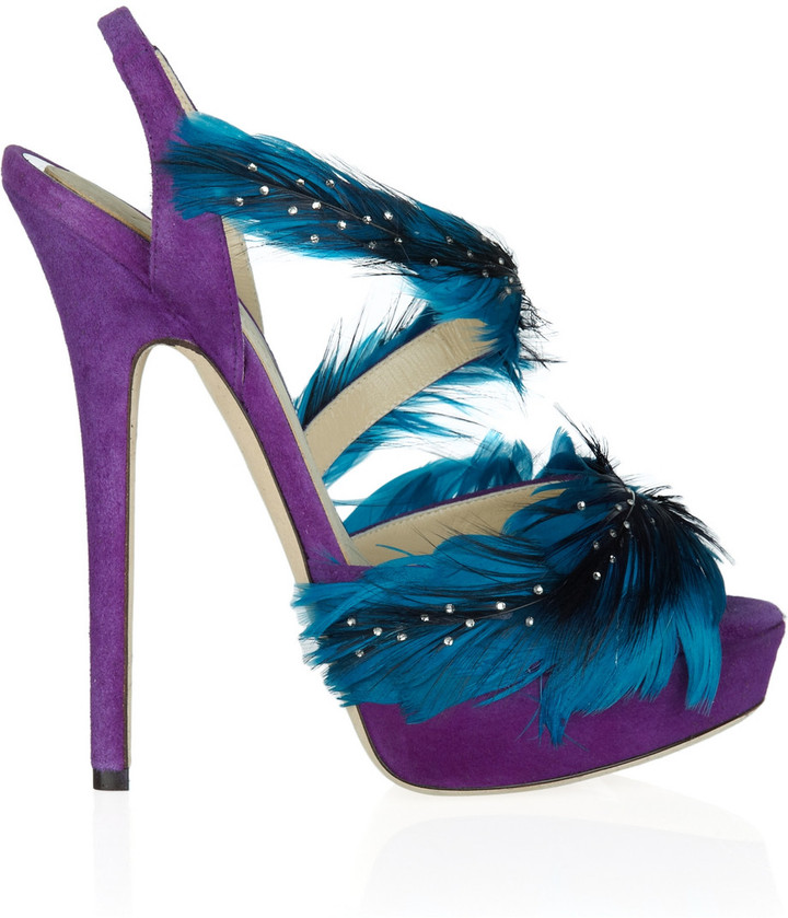 Jimmy Choo Marlene feather and suede sandals