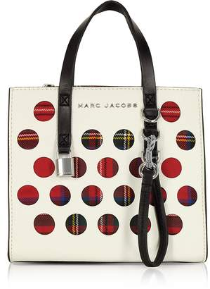 Marc Jacobs Porcelain Leather & Tartan Fabric The Mini Grind Tote Bag