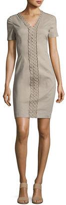 Elie Tahari Loretta Short-Sleeve Linen-Blend Sheath Dress $348 thestylecure.com