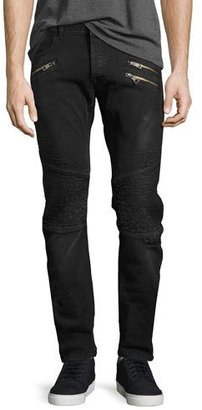 Just Cavalli Distressed Moto Skinny Jeans with Zippers, Faded Black $555 thestylecure.com