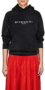 Givenchy Women's Logo Distressed Cotton Terry Hoodie - Black