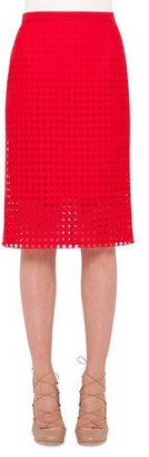 Akris punto Circle-Embroidered Pencil Skirt, Sport Red $695 thestylecure.com
