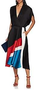 Zero Maria Cornejo Women's Aki Colorblocked Slub Twill Midi-Dress - Black