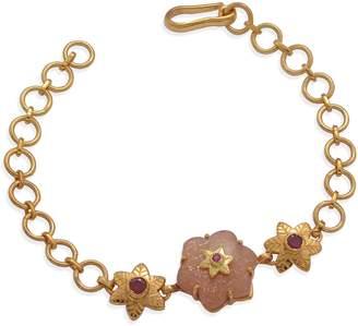 Sylvie Emma Chapman Jewels Peach Moonstone Ruby Bracelet