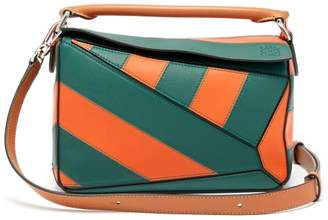 Loewe Puzzle Striped Leather Cross Body Bag - Womens - Orange Multi