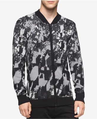 Calvin Klein Men's Abstract-Print Full-Zip Sweater $108 thestylecure.com