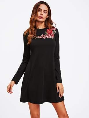 Shein Flower Embroidery Applique Swing Tee Dress