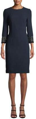 Rickie Freeman For Teri Jon Jacquard Dress w/ Beaded Fringe Cuffs