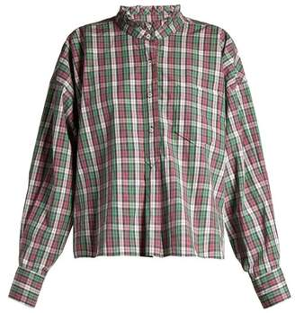 Etoile Isabel Marant Olena Ruffled Collar Check Shirt - Womens - Green Multi