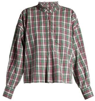 Isabel Marant étoile - Olena Ruffled Collar Check Shirt - Womens - Green Multi