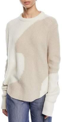 Derek Lam Intarsia Crewneck Cashmere Sweater w/ Shirttail Hem