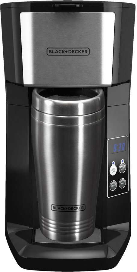 Black & Decker Programmable Single Serve Coffee Maker with Travel Mug - Black