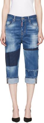 Dsquared2 Blue Patchwork Kawaii Jeans $765 thestylecure.com