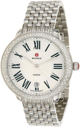 Michele Stainless Steel .50 Ct Tw Diamond Watch