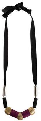 Marni Chain Bead & Ribbon Collar Necklace