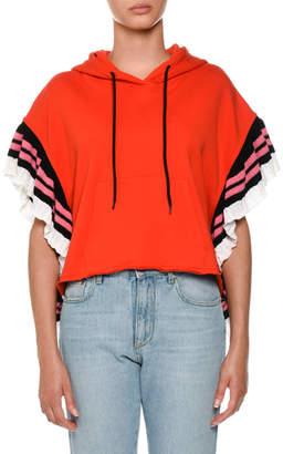 MSGM Ruffle Hooded Sweatshirt w/ Logo Strip