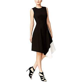 Calvin Klein Women's Sleeveless Round Neck Color Block a-Line Dress with Asymmetrical Hem