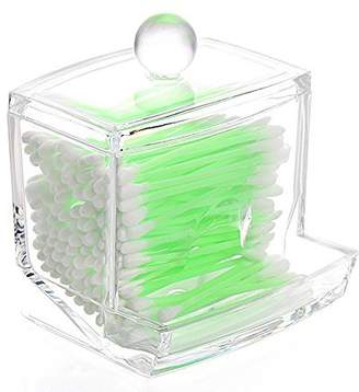 clear Richboom Acrylic Q-tips Cotton Swabs Holder Cotton Bud Storage Box - Cosmetic Organizer For Cotton Pads