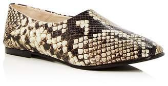 Freda Salvador Women's Babouche Snake Embossed Leather Flats
