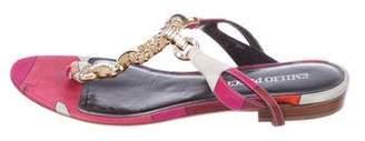 Emilio Pucci Embellished Satin Thong Sandals