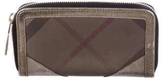 Burberry Leather-Trimmed Zip-Around Wallet