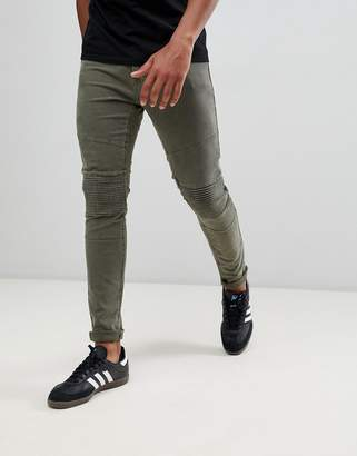 Hollister 5 pocket superskinny biker detail trousers in ivy green