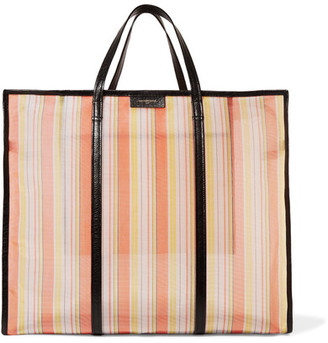 Bazar Xl Textured Leather-trimmed Striped Mesh Shopper - Orange