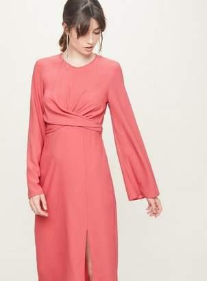 Miss Selfridge Bright pink twist front midi shift dress