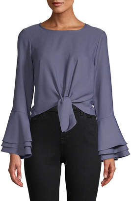 LIKELY Satin Bell-Sleeve Top