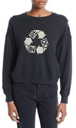 RE/DONE Recycle Distressed Crewneck Cotton Sweatshirt