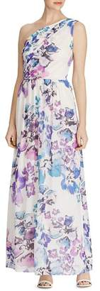 Ralph Lauren One-Shoulder Floral Georgette Gown
