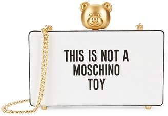 Moschino Slogan Leather Box Clutch
