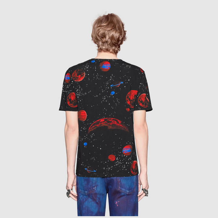 Cotton tie-dye t-shirt with Gucci print 9