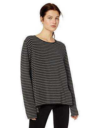 Majestic Filatures Women's Soft Touch' French Terry Fleece Striped Crew Neck