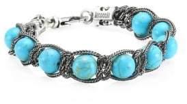 Emanuele Bicocchi Blue Tiger's Eye& Sterling Silver Bracelet
