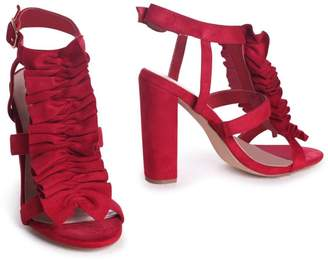 536530f70dbc Linzi SHANELL - Red Suede Block Heel With Ruffle Front Design