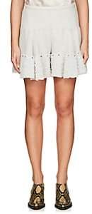 Chloé Women's Crepe Tulle-Ruffle Shorts - Gray
