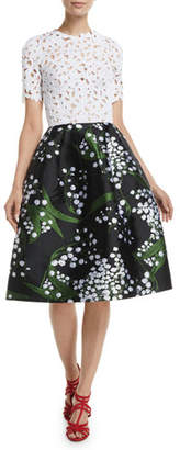Oscar de la Renta Lace-Guipure Top Botanical-Embroidered Skirt Dress w/ Pockets
