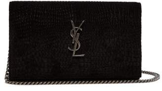 Saint Laurent Kate Small Crocodile Effect Velvet Cross Body Bag - Womens - Black