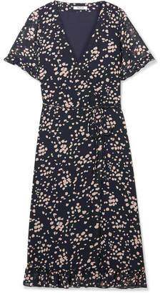 Madewell Printed Chiffon Wrap Dress - Navy