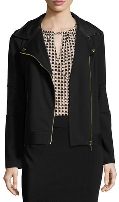 MICHAEL Michael Kors Ponté Faux-Leather Trim Moto Jacket, Black Pattern $125 thestylecure.com