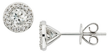 1 Carat White Topaz & Diamond 14K White Gold Earrings