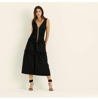 Amanda Wakeley Black Jacquard Tiered Cocktail Dress