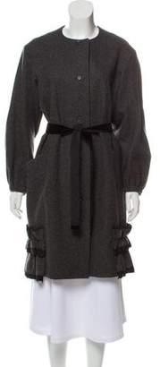 Nina Ricci Virgin Wool Ruffle Trim Coat