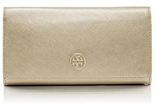 Tory Burch Robinson Metallic Envelope Continental Wallet