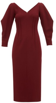 Emilia Wickstead Calla Wool Crepe Midi Dress - Womens - Burgundy