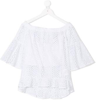 Elsy broderie anglaise pleated trim top